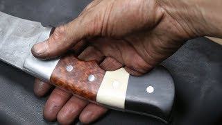 Forging a 800 layer pattern welded Khukuri knife, part 2, making the handle.