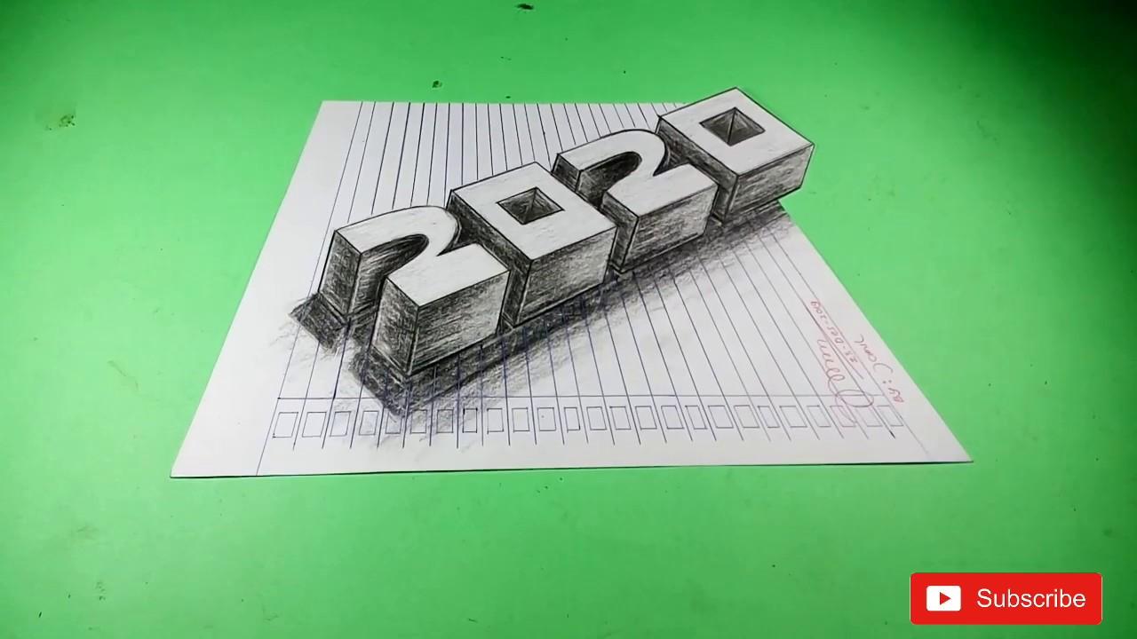 cara membuat gambar 3 dimensi angka tahun 2020 yang lagi ...
