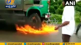 Protesters' Set Fire To Milk Truck With Driver Still Inside |  Maharashtra