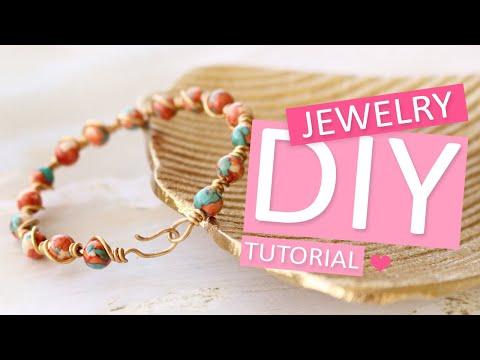 DIY Tutorial - Armband mit Naturstein Perlen und Artistic Wire - Machen Sie Ihren eigenen Schmuck