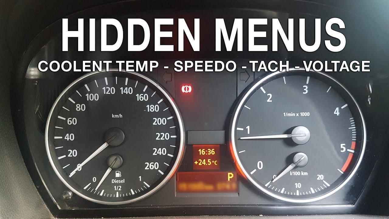 BMW E90 Hidden menus (coolent temp, digital speed / rpm, voltage)