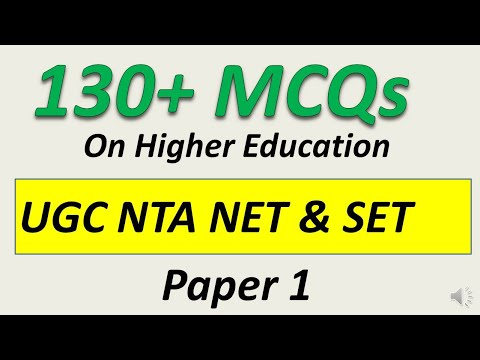 130+ Higher Education MCQs For  UGC NTA NET and SET Exam Paper 1 Preparation 2020.