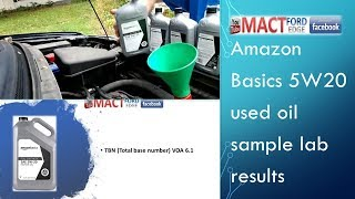 Amazon Basics 5W20 used oil sample lab results