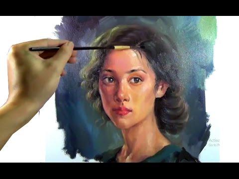 Art Oil painting pretty girl portrait on canvas