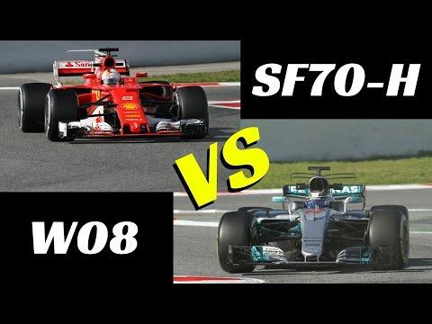 2017 Ferrari SF70-H vs Mercedes W08 - Comparison on track - F1 tests Montmelò