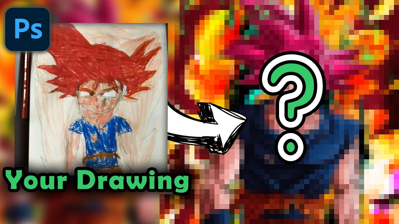 Drawing Goku Surge of Divinity | Redraw fan's Drawing in Photoshop