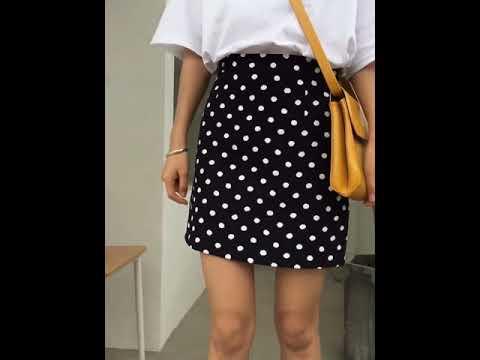 여자 땡땡이 도트 하이웨스트 스커트 치마 kirahosi + 스마트스트랩 증정 N5cdl5