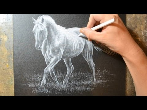 drawing-a-horse-with-a-white-colored-pencil-crayon