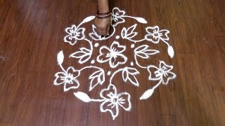 11x6 Middle Dots Flower Rangoli Design | Muggulu | Kolam