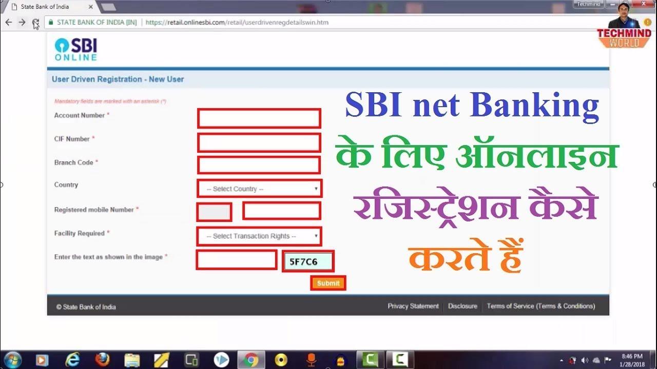 sbi register for internet banking online