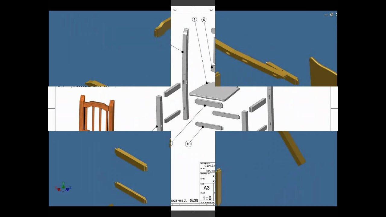 Autodes inventor planos de una youtube - Sillas plegables de madera ...