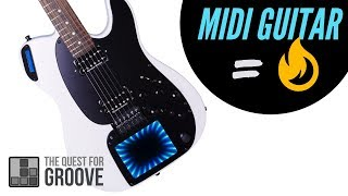 Playing synthesizers with my new MIDI guitar!