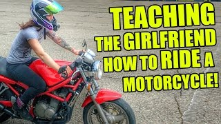 Girlfriend Learning How To Ride A Motorcycle!