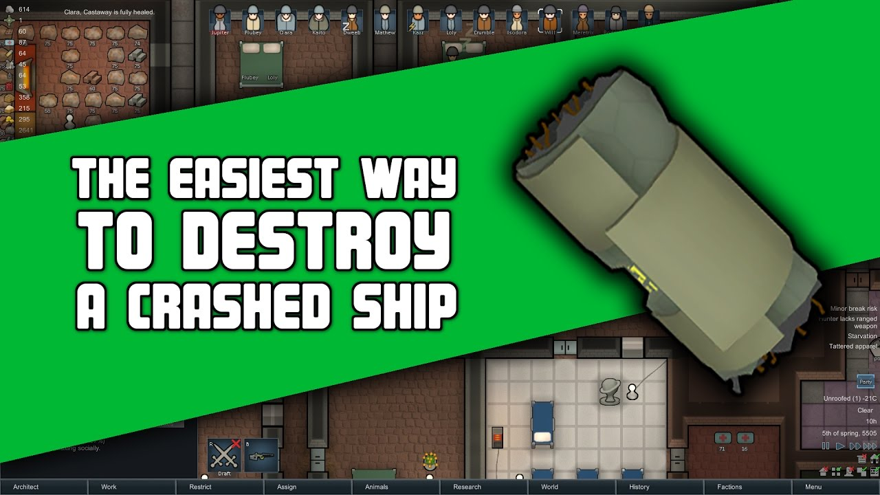 The Easiest Way to Destroy a Crashed Ship or Poison Ship in Rimworld    ShipPartCrash