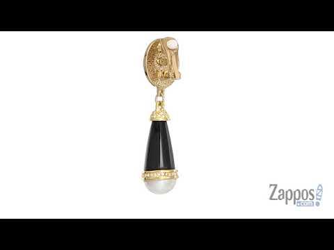 Kenneth Jay Lane Rhodium/Rhinestone Pearl Top/Black Middle/Pearl Bottom Clip Earrings SKU: 9027395