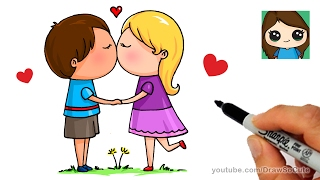 How to Draw a Boy and Girl Kissing Easy