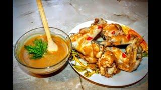 Как приготовить медово-горчичный соус к курице?!Очень вкусно.Крылья курицы Мёд Горчица Имбирь Курица