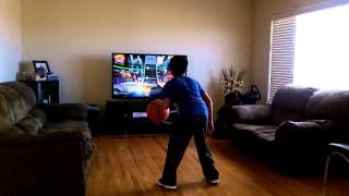 9 year old AJ playing NBA Baller Beats on Hard - C