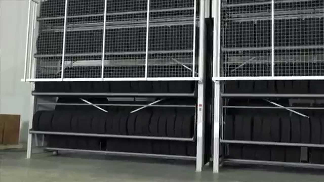 How To Rotate Tires >> Automated Tire Storage - Vertical Carousel - YouTube