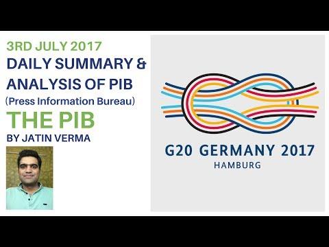3rd July 2017 (PRESS INFORMATION BUREAU) Summary and Analysis