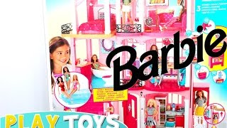 HUGE Barbie Girl Dream House Dollhouse Unboxing & playing with Barbie dolls
