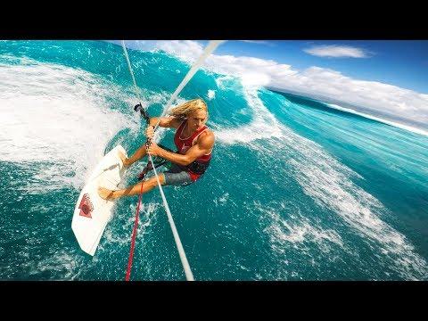 Kitesurfing with WORLD CHAMPION Moona Whyte (GoPro HERO6 + Uber Slow Motion)