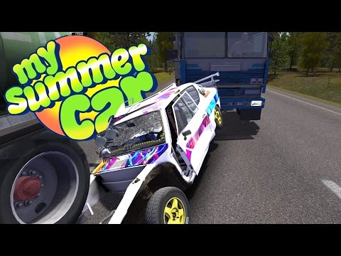 ROLL CAGE INSTALLED, Running out of Gas, Highway Crash - My Summer Car Gameplay Highlights Ep 33