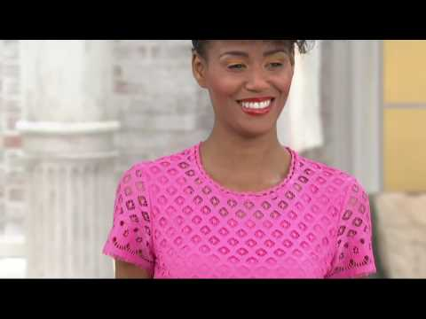 Isaac Mizrahi Live! Stretch Lace Short Sleeve Dress on QVC