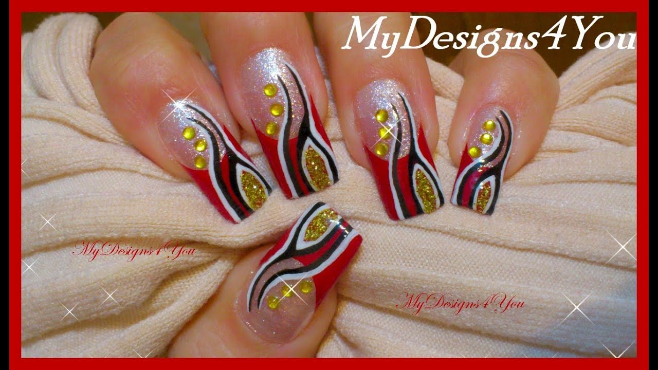 Abstract French Tip Nail Art Red And Gold Nails Youtube