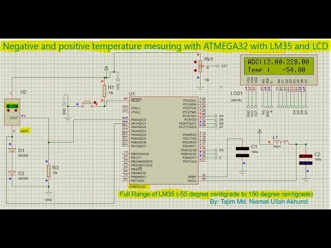 Negative and positive temperature measuring with ATMEGA32, LM35 and LCD   [Full Code+Circuit Design]