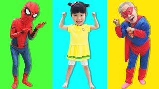 슈퍼히어로 놀이 인기동요 모음 Superhero pretend play for kids - 로미유스토리 Romiyu Story