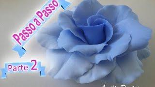 Passo a Passo Rosa Azul de Biscuit parte 2/2