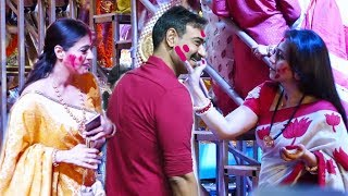Kajol and Rani Mukherjee Playing Sindoor Khela With Ajay Devgan at Durga Puja FE$TIVAL 2019