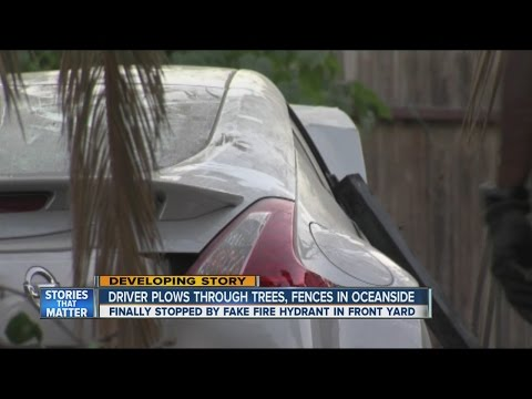 Driver plows through trees and fences in Oceanside