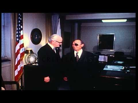 Israel Defense Minister, Moshe Dayan visits Deputy Secretary of Defense, Kenneth ...HD Stock Footage