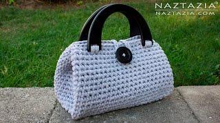 Repeat youtube video DIY Tutorial - Crochet Easy Casual Friday Handbag with Lining - Lined Purse Bag Bolsa Borsa