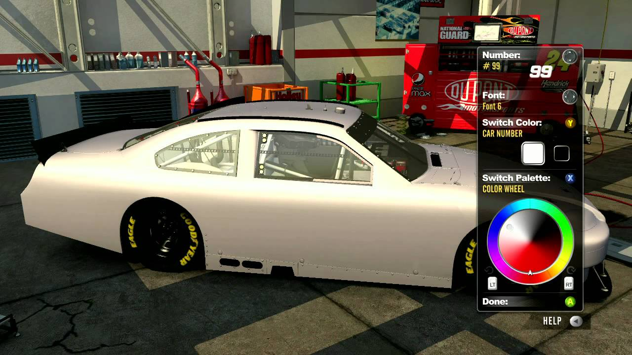 nascar the game 2011 paint booth all numbers and fonts