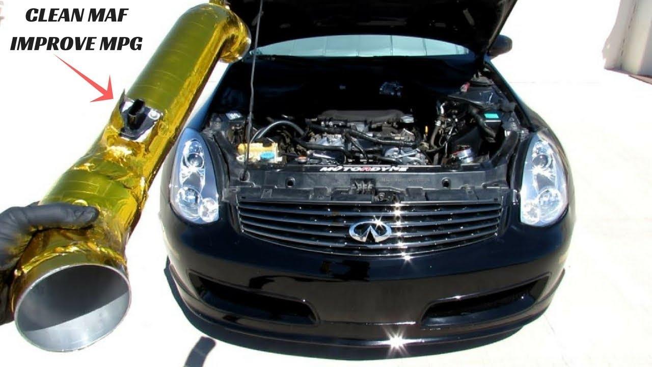 how to clean mass air flow sensor to stop car hesitation nissan 350z infiniti g35 [ 1280 x 720 Pixel ]