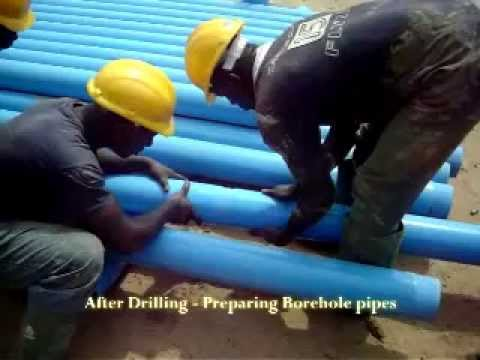 After Drilling - Preparing the pipes - Enacent Limited Ghana