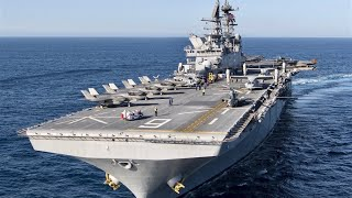 美軍美利堅級兩棲突擊艦搭載F35B戰機 時刻在海上待命 美国号两栖攻击舰 能搭載20架F-35B戰鬥機 USS America LHA-6