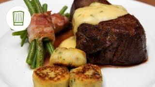 Chateaubriand mit Speckbohnen, Macaire Kartoffeln und Sauce Béarnaise #chefkoch