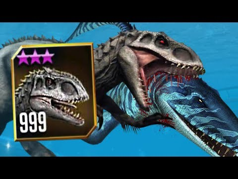 INDOMINUS REX GETS HER REVENGE! - LEVEL 999 I.Rex VS Mosasaurus!! - Jurassic World The Game HD