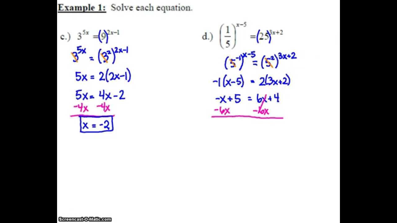 algebra 2: 7.2 notes: example 1c & d - solving an exponential