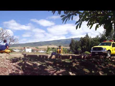 [HD] 2-27-2010  Tsunami Warning Maui County Fire Department Rescue Helicopter Takeoff