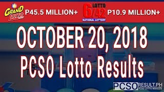 PCSO Lotto Results Today October 20, 2018 (6/55, 6/42, 6D, Swertres, STL & EZ2)