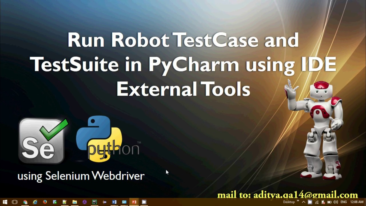 Configure PyCharm in Robot Framework to run TestCase and TestSuite