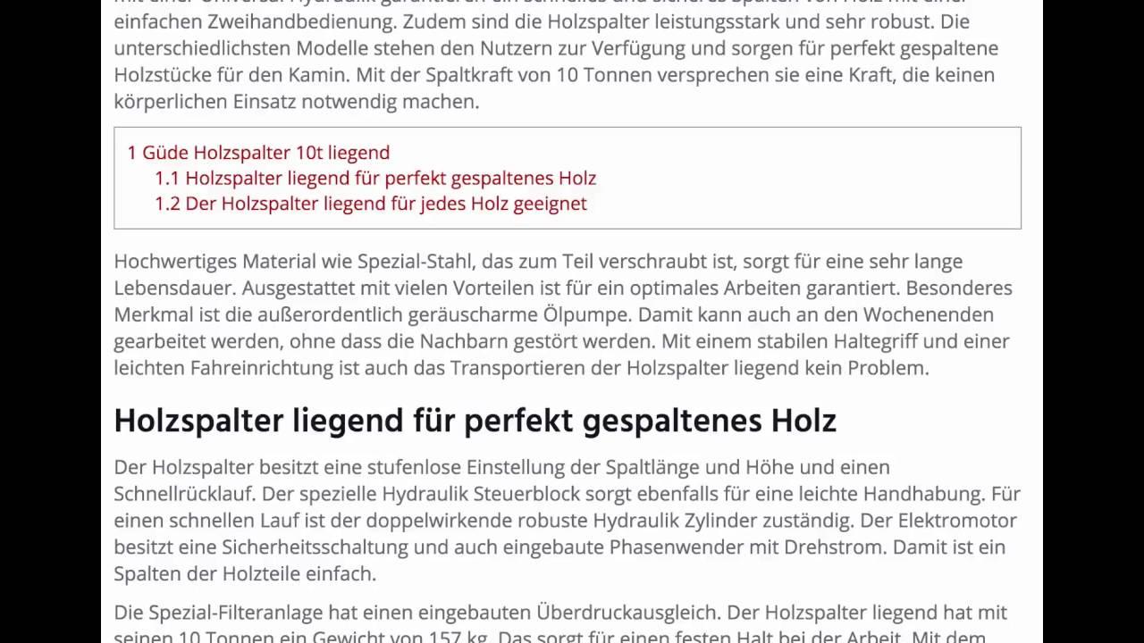 Gude Holzspalter 10t Liegend Www Holzspalter Liegend Net Youtube