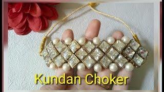 Bridal Kundan Choker Necklace Making/DIY Party Wear kundan Necklace With Pearls..