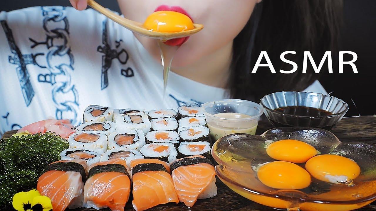 ASMR SALMON SUSHI AND MANDARIN FLAVOUR RAW EGGS EATING SOUND | LINH-ASMR mukbang