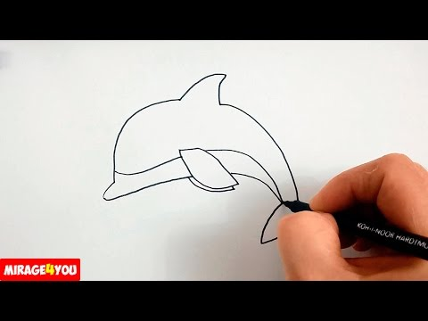 Как Нарисовать Дельфина поэтапно, просто и быстро